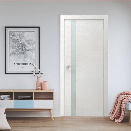 Купить межкомнатные двери VE-02 дуб белый+стекло белое  Дверной Бум