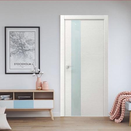Купить межкомнатные двери VE-03 дуб белый+стекло белое  Дверной Бум